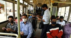 people wearing masks on public transport